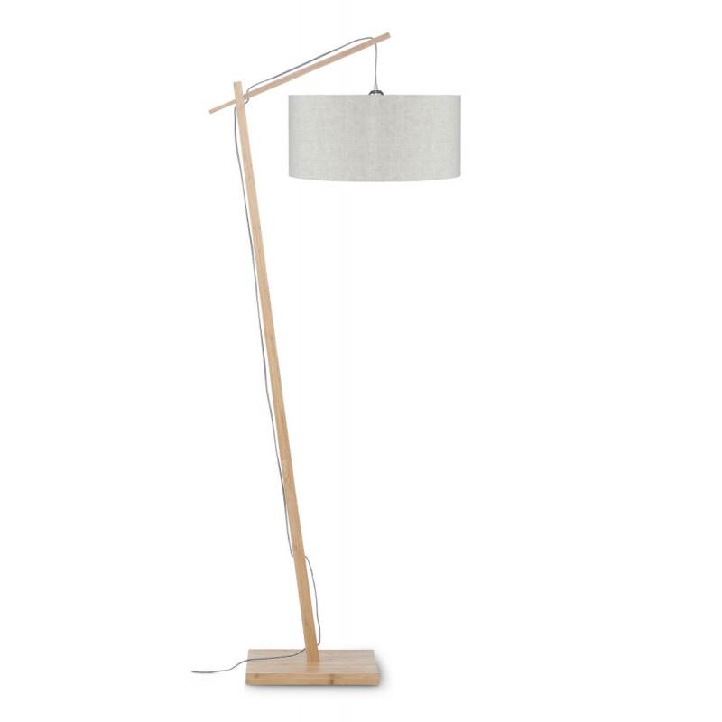 Lampe sur pied en bambou et abat-jour lin écologique ANDES (naturel, lin clair)