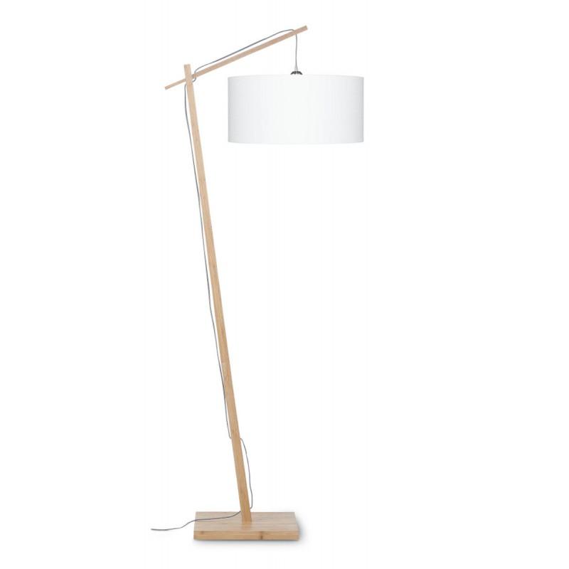 Lampe sur pied en bambou et abat-jour lin écologique ANDES (naturel, blanc)