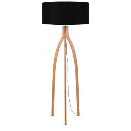 Lámpara de pie de bambú y pantalla de lino ecológica annaPURNA (natural, negro)
