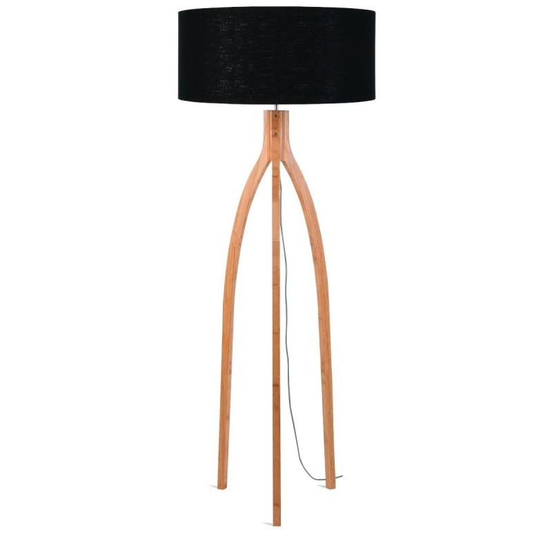 Lampada in piedi in bambù e paralume di lino eco-friendly annaPURNA (naturale, nero)