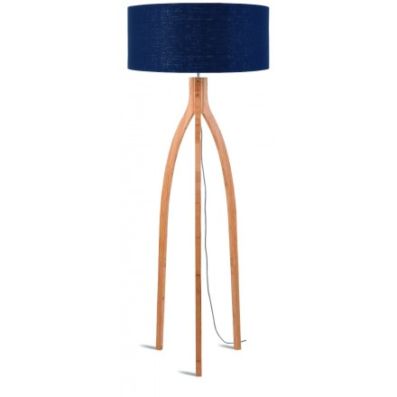 Bamboo standing lamp and annaPURNA eco-friendly linen lampshade (natural, blue jeans)