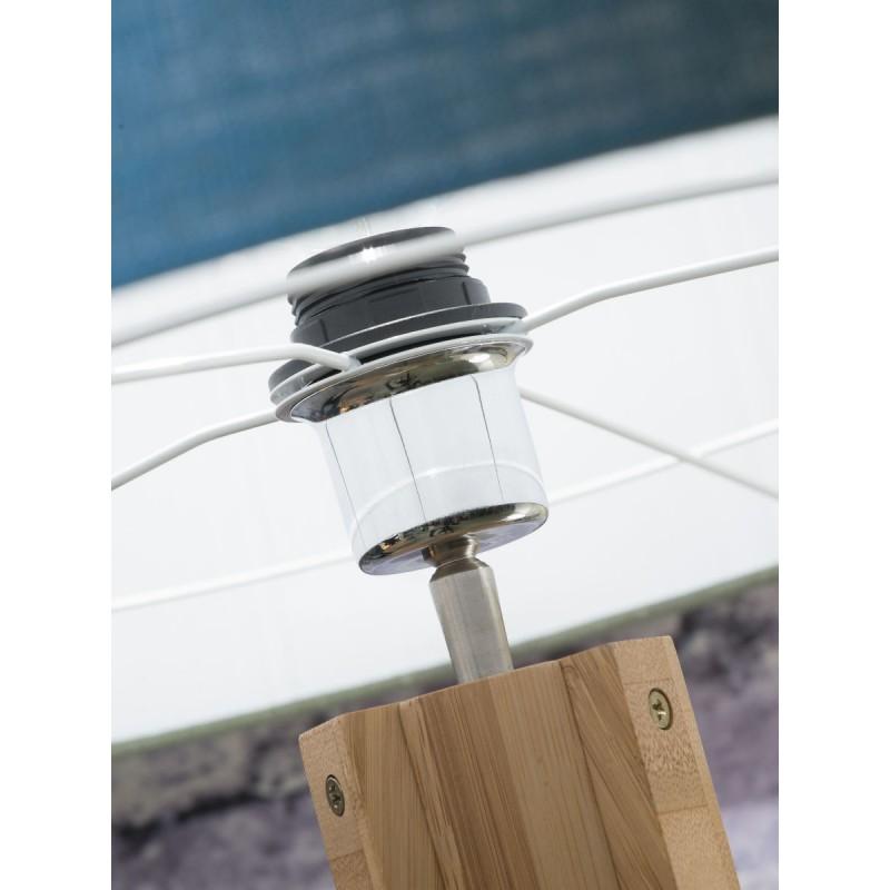 Lampada in legno in piedi e paralume di lino eco-friendly annaPURNA (natural, blue jeans) - image 44478