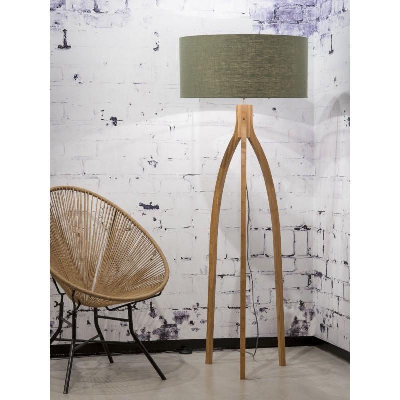 Bamboo standing lamp and annaPURNA eco-friendly linen lampshade (natural, dark green) - image 44488