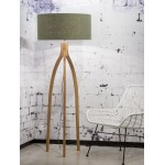 Lámpara de pie de bambú y pantalla de lino ecológica annaPURNA (natural, verde oscuro)