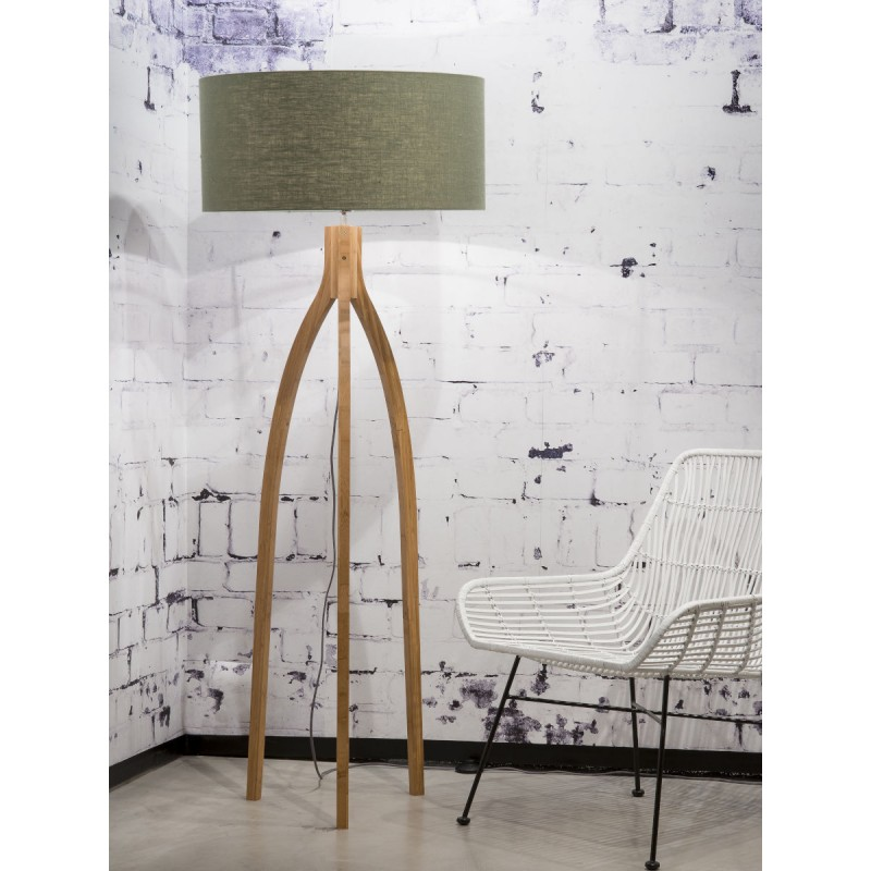 Lámpara de pie de bambú y pantalla de lino ecológica annaPURNA (natural, verde oscuro) - image 44489