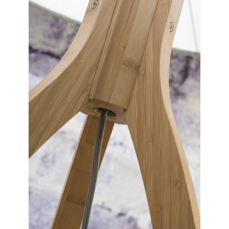 Lampe sur pied en bambou et abat-jour lin écologique ANNAPURNA (naturel, vert foncé) - image 44491