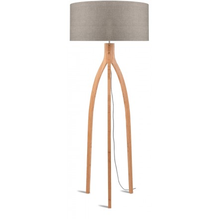 Bamboo standing lamp and ANNAPURNA eco-friendly linen lampshade (natural, dark linen)