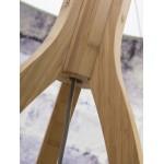 Lampada in legno in piedi e paralume di lino eco-friendly ANNAPURNA (lino naturale e scuro)
