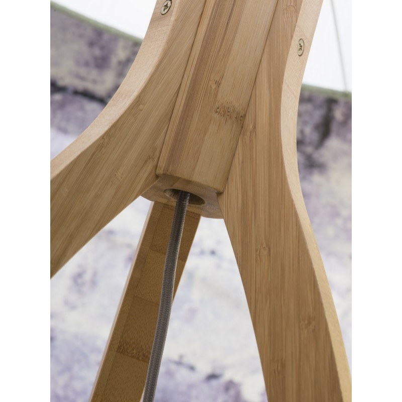 Lampe sur pied en bambou et abat-jour lin écologique ANNAPURNA (naturel, lin foncé) - image 44496
