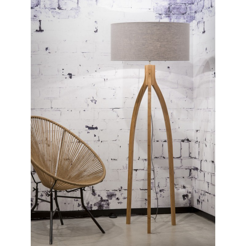 Lámpara de pie de bambú y pantalla de lino ecológica ANNAPURNA (natural, gris claro) - image 44499