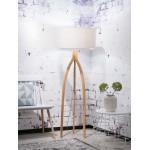 Lámpara de pie de bambú y pantalla de lino ecológica annaPURNA (natural, lino ligero)
