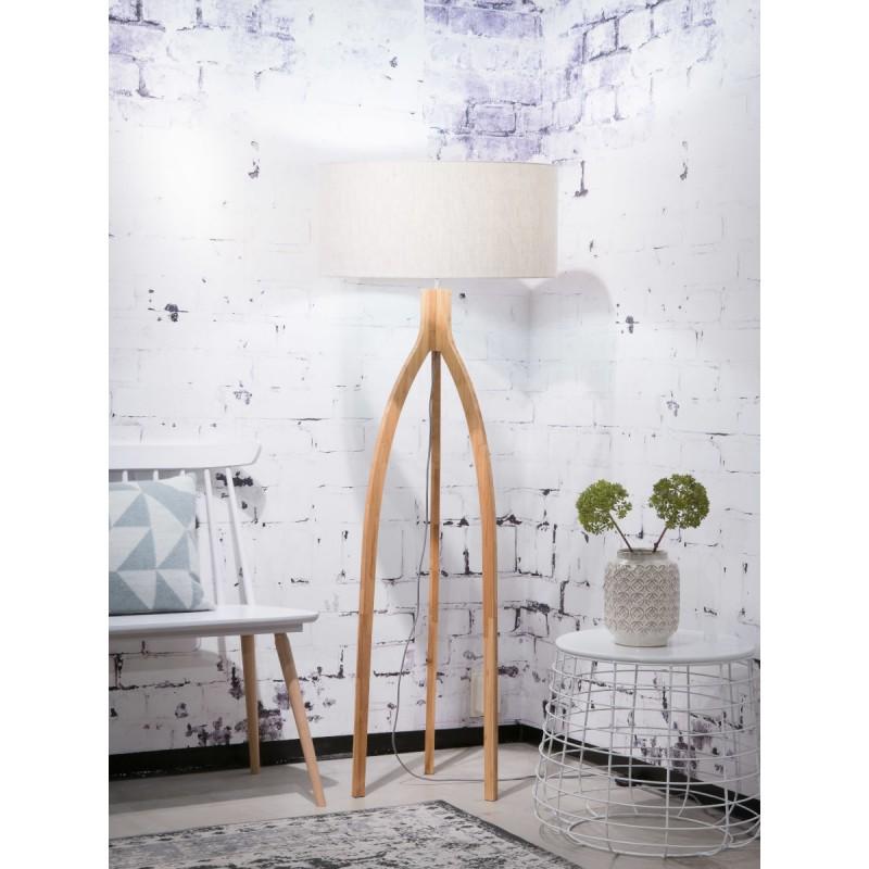 Lámpara de pie de bambú y pantalla de lino ecológica annaPURNA (natural, lino ligero) - image 44505