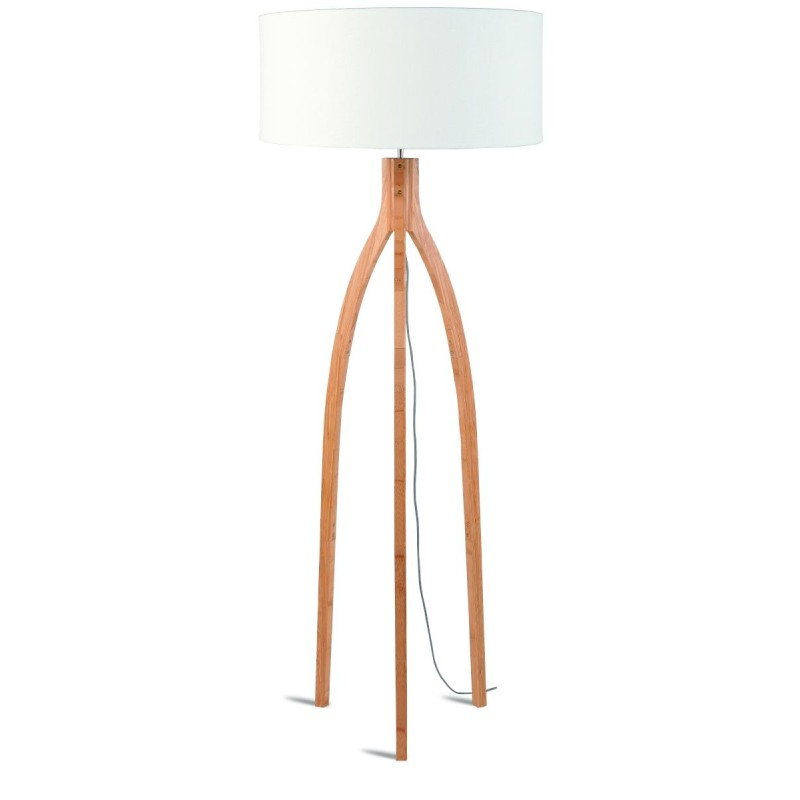 Lampada in piedi in bambù e paralume di lino eco-friendly annaPURNA (naturale, bianco)