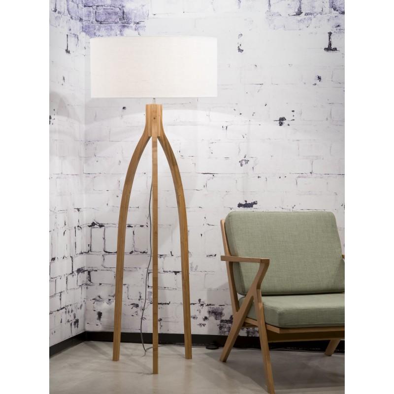 Lampe sur pied en bambou et abat-jour lin écologique ANNAPURNA (naturel, blanc) - image 44511