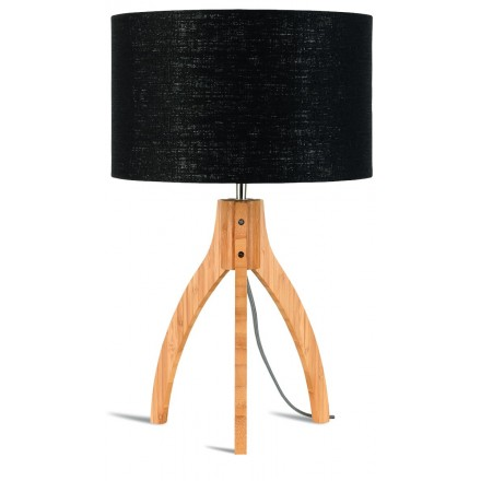 Lampe de table en bambou et abat-jour lin écologique ANNAPURNA (naturel, noir)