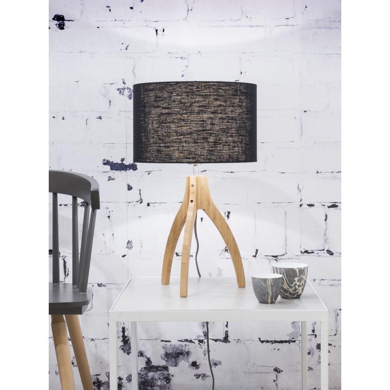 Bambus Tischleuchte und annaPURNA umweltfreundliche Leinenlampe (natürlich, schwarz) - image 44516