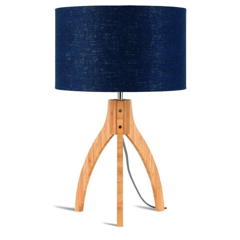 Lámpara de mesa de bambú y pantalla de lino ecológica annaPURNA (jeans naturales y azules)