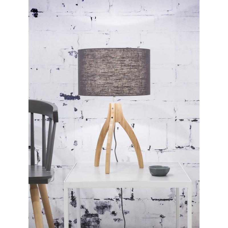 Lampe de table en bambou et abat-jour lin écologique ANNAPURNA (naturel, gris foncé) - image 44523