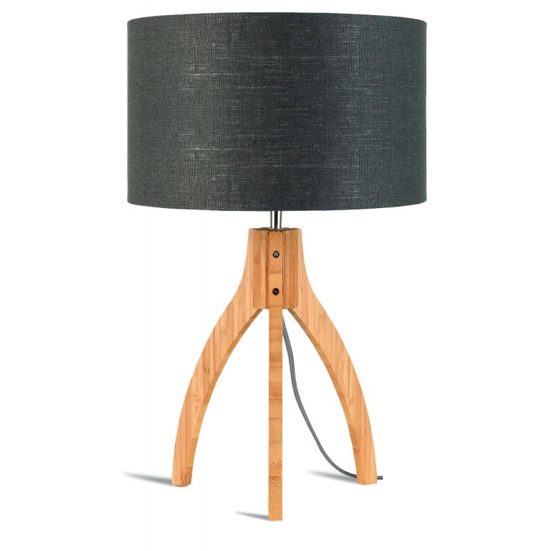 Lámpara de mesa de bambú y lámpara de lino ecológica annaPURNA (natural, gris oscuro)