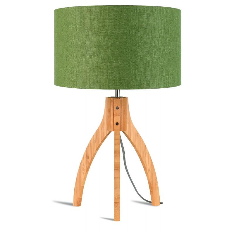 Lámpara de mesa de bambú y lámpara de lino ecológica annaPURNA (natural, verde oscuro)