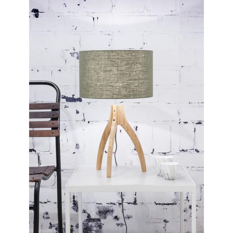 Bamboo table lamp and annaPURNA eco-friendly linen lamp (natural, dark green) - image 44528