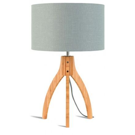 Lámpara de mesa de bambú y lámpara de lino ecológica annaPURNA (natural, gris claro)