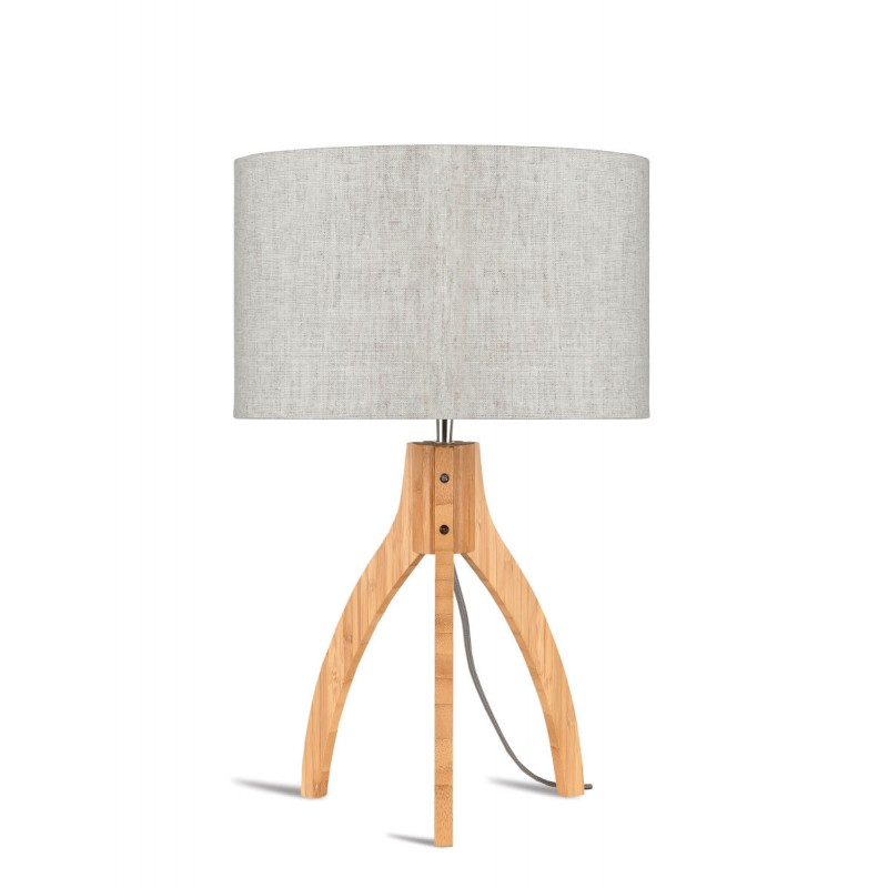 Bamboo table lamp and annaPURNA eco-friendly linen lamp (natural, light linen)