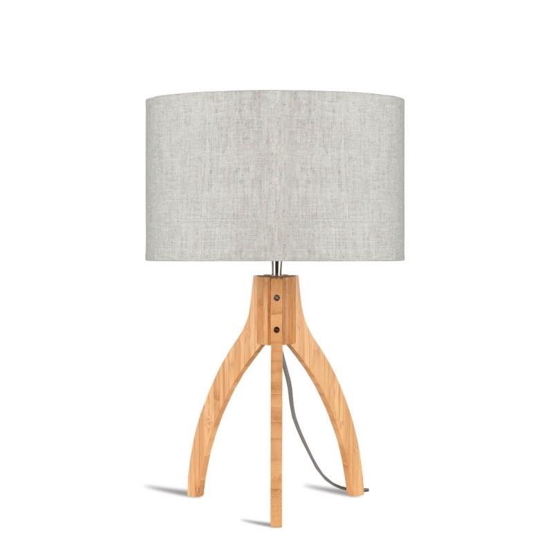 Lámpara de mesa de bambú y lámpara de lino ecológica annaPURNA (natural, lino claro) - image 44536