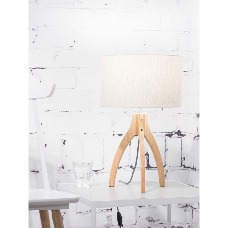 Bamboo table lamp and annaPURNA eco-friendly linen lamp (natural, light linen) - image 44537