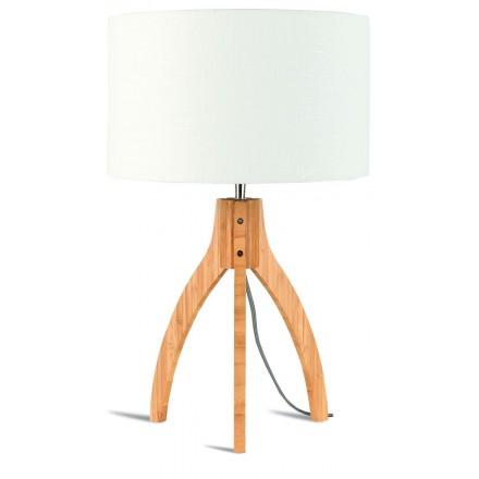 Lampada da tavolo Bamboo e lampada di lino eco-friendly annaPURNA (naturale, bianca)