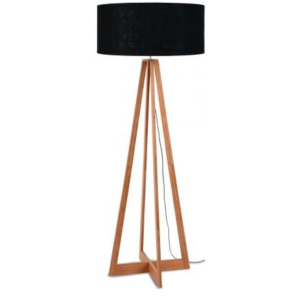 EverEST (natürlich, schwarz) Bambus Stehlampe und ökologische Leinen Lampenschirm