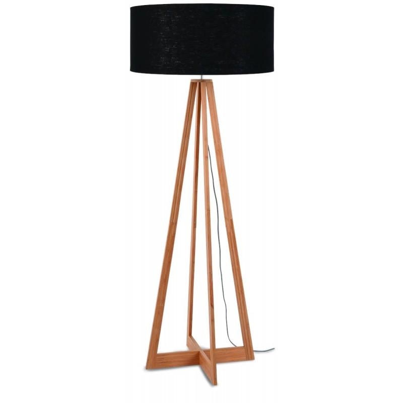Lampe sur pied en bambou et abat-jour lin écologique EVEREST (naturel, noir)