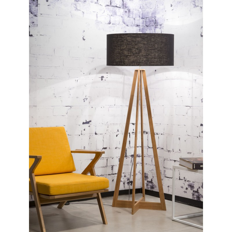 EverEST (natürlich, schwarz) Bambus Stehlampe und ökologische Leinen Lampenschirm - image 44544