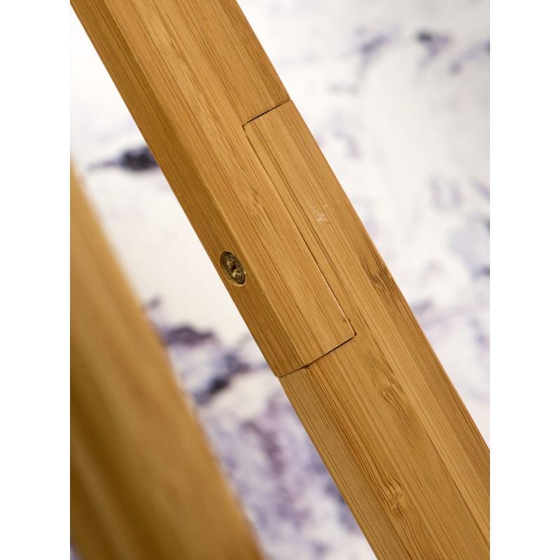 Lampe sur pied en bambou et abat-jour lin écologique EVEREST (naturel, bleu jeans) - image 44552