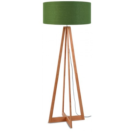 EverEST green standing lamp and green linen lampshade (natural, dark green)