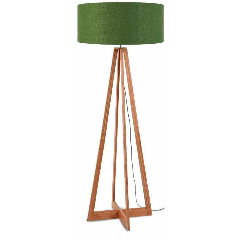 EverEST grüne Stehlampe und grüne Leinen Lampenschirm (natürlich, dunkelgrün)