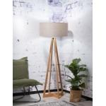 Lampe sur pied en bambou et abat-jour lin écologique EVEREST (naturel, lin foncé)