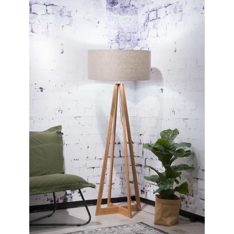 Lámpara de pie de bambú EverEST y pantalla de lino ecológico (natural, lino oscuro) - image 44567