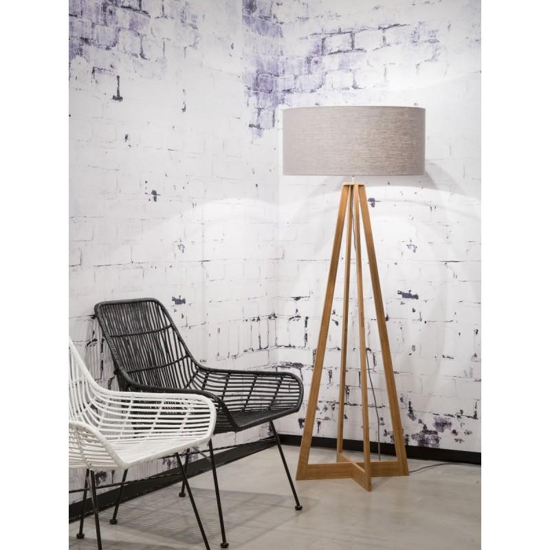 Lampe sur pied en bambou et abat-jour lin écologique EVEREST (naturel, gris clair) - image 44571