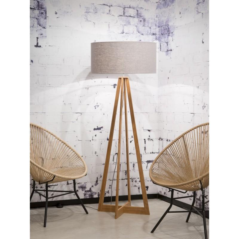 Lampe sur pied en bambou et abat-jour lin écologique EVEREST (naturel, gris clair) - image 44572