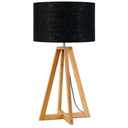 Lámpara de mesa de bambú y pantalla de lino ecológica everEST (natural, negro)