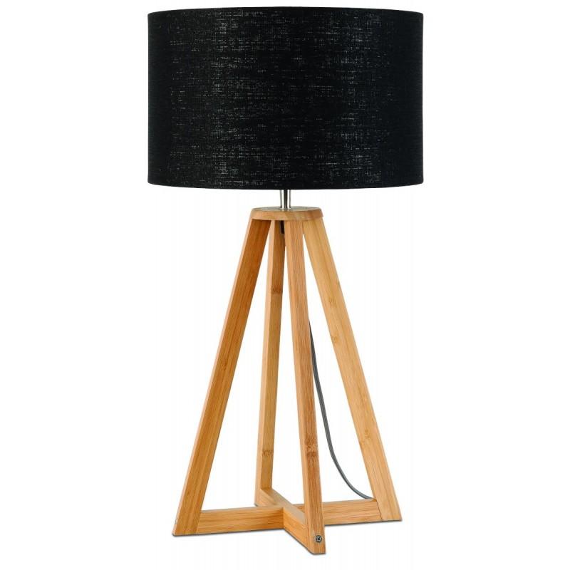 Bambus Tischlampe und everEST umweltfreundliche Leinen Lampenschirm (natürlich, schwarz)