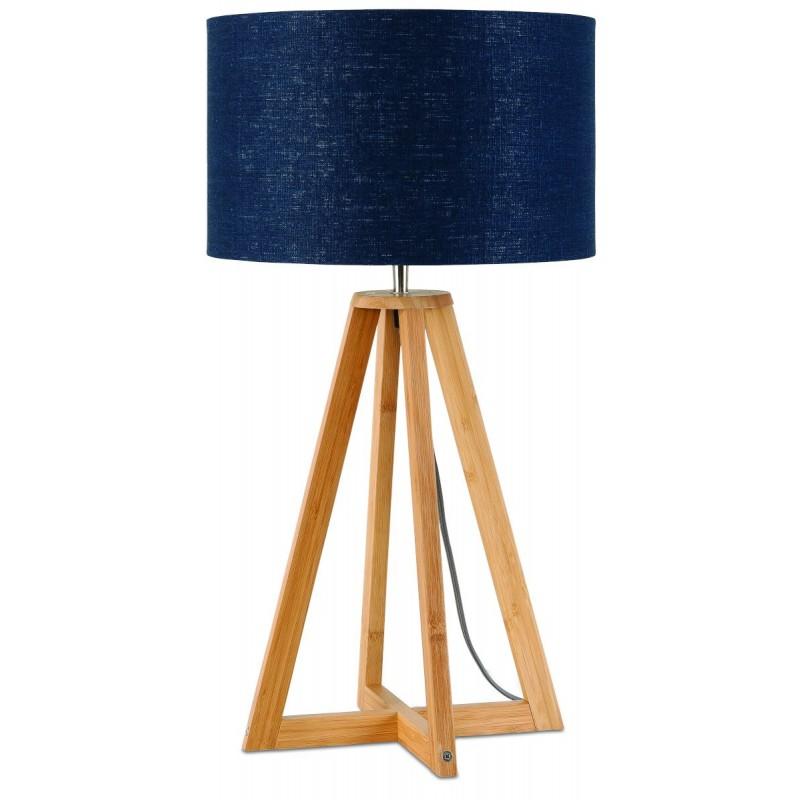 Lampe de table en bambou et abat-jour lin écologique EVEREST (naturel, bleu jeans) - image 44591
