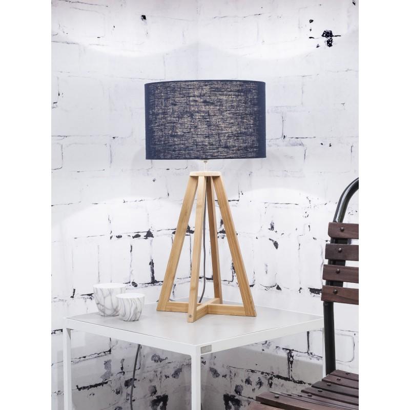 Lampe de table en bambou et abat-jour lin écologique EVEREST (naturel, bleu jeans) - image 44592