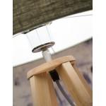 Bambus Tischlampe und everEST umweltfreundliche Leinen Lampenschirm (natürliche, blaue Jeans)