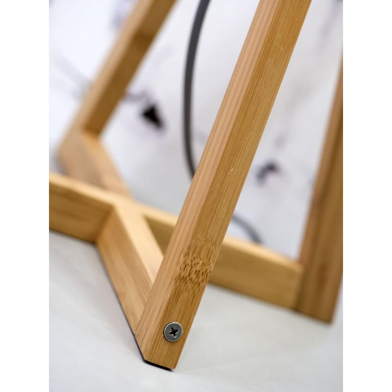 Lampe de table en bambou et abat-jour lin écologique EVEREST (naturel, bleu jeans) - image 44595