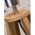 Lámpara de mesa de bambú y lámpara de lino ecológica cada vez más respetuosa (natural, gris oscuro)