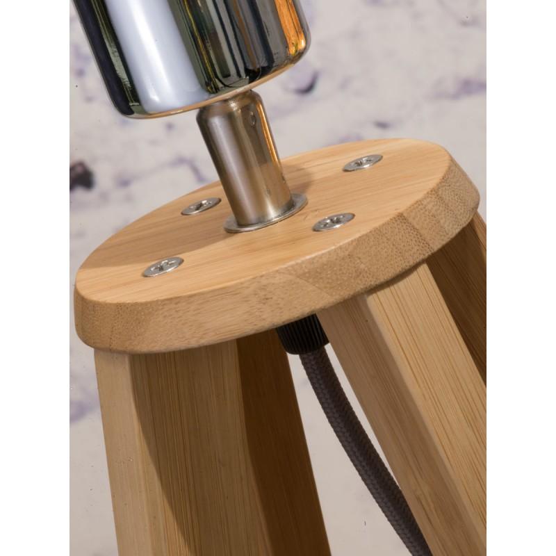 Lampe de table en bambou et abat-jour lin écologique EVEREST (naturel, gris foncé) - image 44599