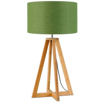 Bamboo table lamp and everEST eco-friendly linen lamp (natural, dark green)