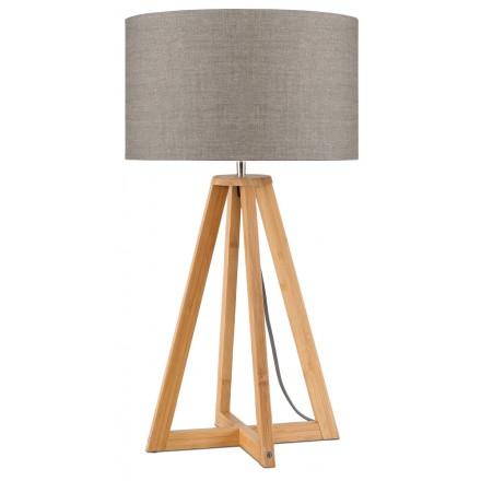 Lampe de table en bambou et abat-jour lin écologique EVEREST (naturel, lin foncé)